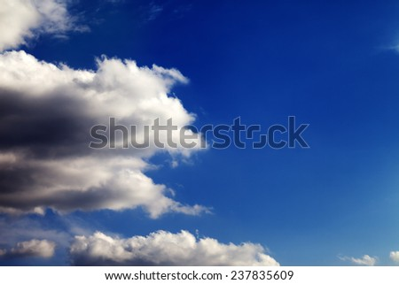 Beautiful blue sky with clouds at nice day - stock photo