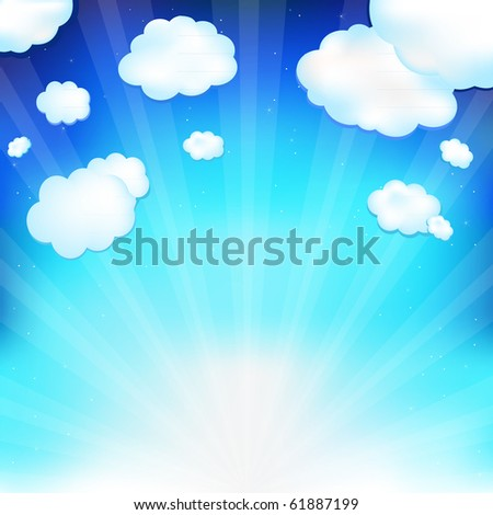 Beautiful  Blue Sky With Clouds, Beams And Stars