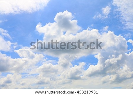 Beautiful blue sky with clouds for background and bright lighting clear on Summer - stock photo