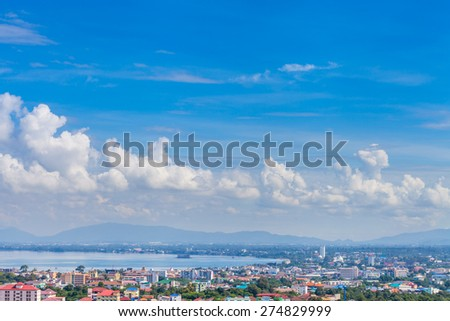 Beautiful blue sky with cloudy over Pattaya bay Thailand - stock photo