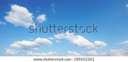 beautiful blue sky with cumulus clouds, panoramic background - stock photo