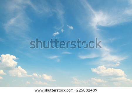 beautiful blue sky with light clouds - stock photo