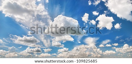 beautiful blue sky with many clouds - stock photo