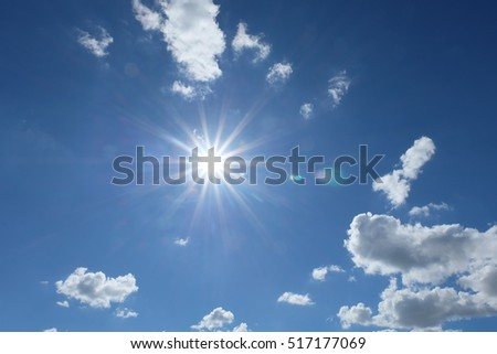 beautiful blue sky with sunshine.the cloud.
