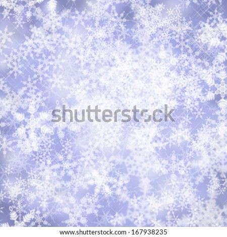 Beautiful blue sparkling snowy winter background with copy space. - stock photo