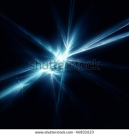 Beautiful blue star. Fractal - stock photo
