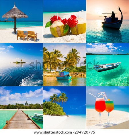 beautiful blue sun sea tropical nature background holiday luxury resort island atoll about coral reef amazing  fresh  freedom snorkel adventure day set collage. Coconuts   - stock photo