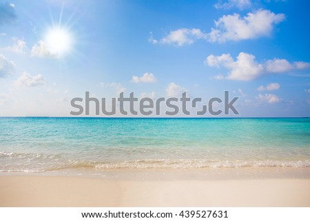 beautiful blue sun sea tropical nature background holiday luxury resort island atoll about coral reef amazing fresh fantastic freedom snorkel adventure Fiji spa. Coconuts - stock photo