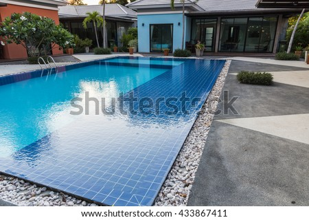 Beautiful blue swimming pool at outdoor hotel