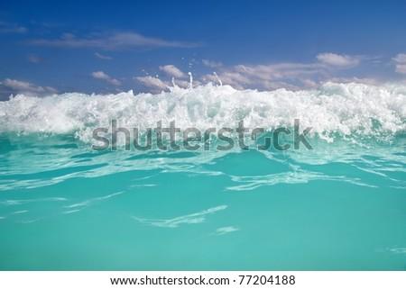 beautiful blue turquoise wave caribbean sea water foam - stock photo