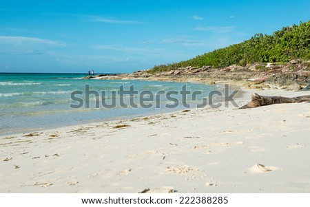 Beautiful blue water and white sand beach in Santa Maria Key in the Northern Part of Villa Clara, Cuba - stock photo