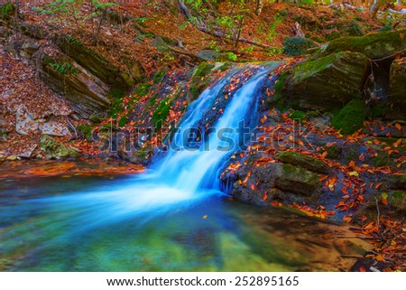 beautiful blue waterfall - stock photo