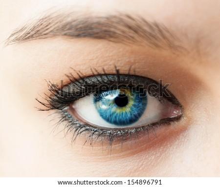 Beautiful blue woman eye close up - stock photo