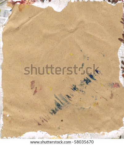 Beautiful blue, yellow and white paint splatters on classic brown paper- Great for textures and backgrounds for your projects! - stock photo