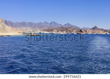 beautiful boat blue sun red sea egypt tropical nature background