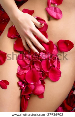 Beautiful body of woman against petals of red roses - stock photo