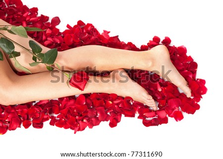 Beautiful body of woman against petals of red roses with flower - stock photo