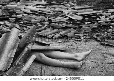 Beautiful body of young woman over earthquake background - stock photo