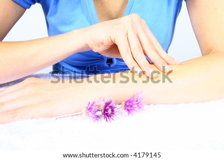 beautiful body woman and female holding flower - stock photo