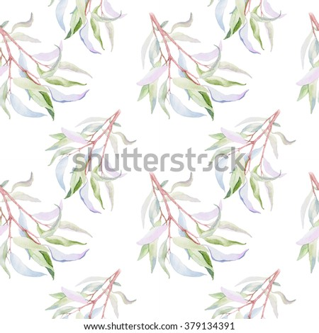 beautiful botanical seamless pattern - watercolor hand drawn branches and green leaves.willow leaves - stock photo