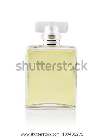 beautiful bottle of perfume on a white background - stock photo