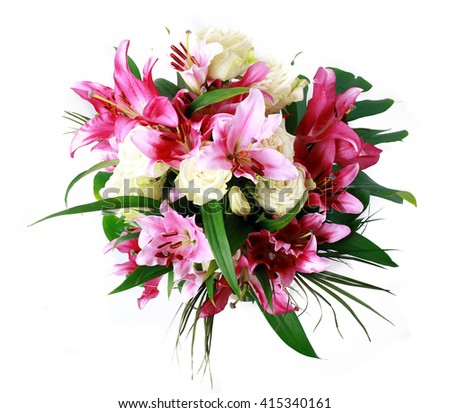beautiful bouqet of pink lillyes and roses in vase - stock photo