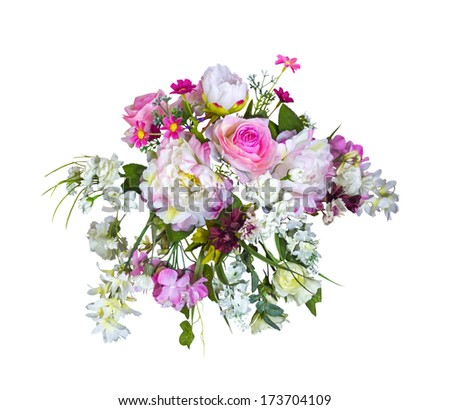 Beautiful bouquet artificial flowers isolated on white background