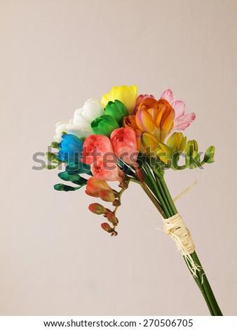 Beautiful bouquet freesia flowers   - stock photo