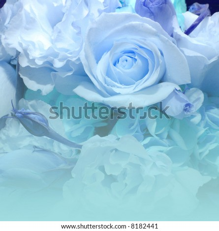 beautiful  bouquet in blue  and green with fade for writing - stock photo