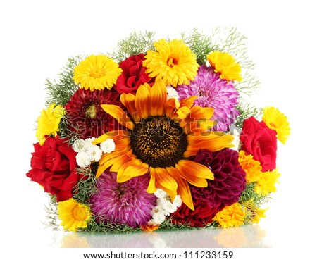beautiful bouquet of bright flowers, isolated on white - stock photo