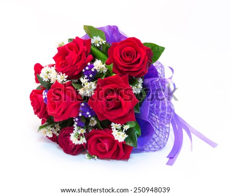 beautiful bouquet of bright red flowers, isolated on white background - stock photo