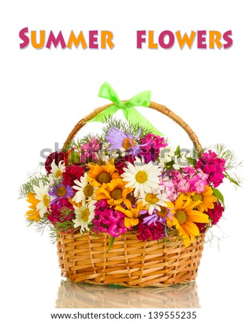 Beautiful bouquet of bright  wildflowers in basket isolated on white