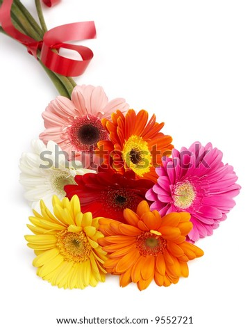 beautiful bouquet of colorful gerbera flowers, summer flowers - stock photo