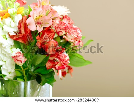 beautiful bouquet of flowers in a vase - stock photo