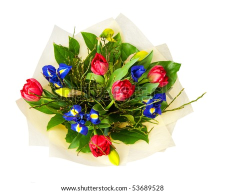 beautiful bouquet of flowers isolated on white - stock photo