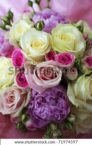Beautiful bouquet of flowers ready for the big wedding ceremony