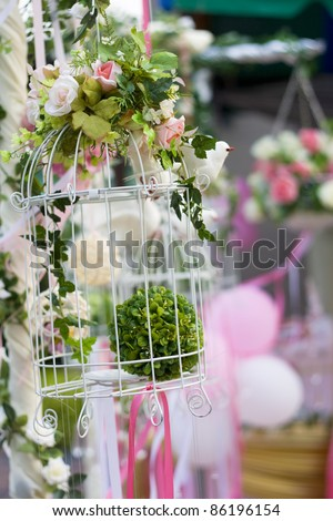 Beautiful bouquet of flowers ready for the big wedding ceremony - stock photo