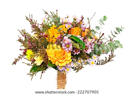 Beautiful bouquet of flowers with autumn decoration - stock photo