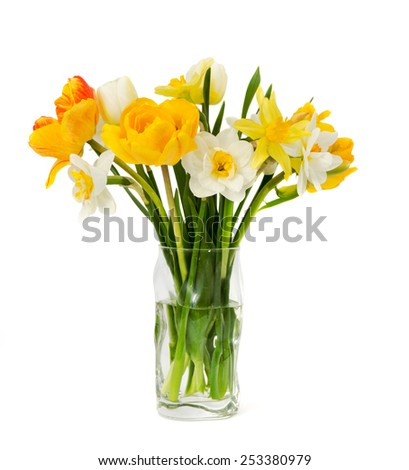 beautiful bouquet of fresh narcissus and tulips isolated on a white