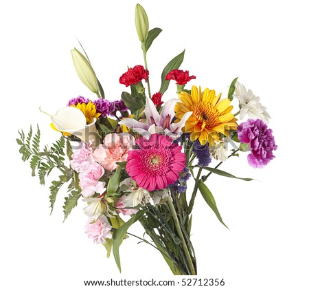 Beautiful bouquet of mixed cut flowers on white background - stock photo
