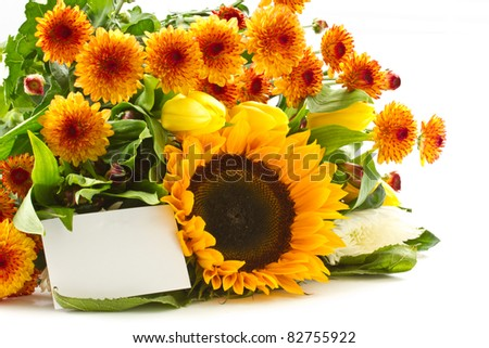 beautiful bouquet of orange on a white background Chrysanthemum