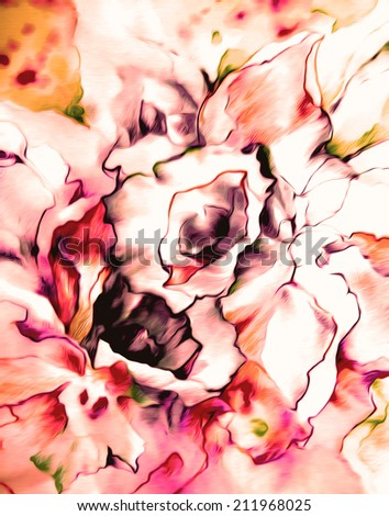 Beautiful bouquet of pink daffodils in vintage style .Watercolor on paper. - stock photo