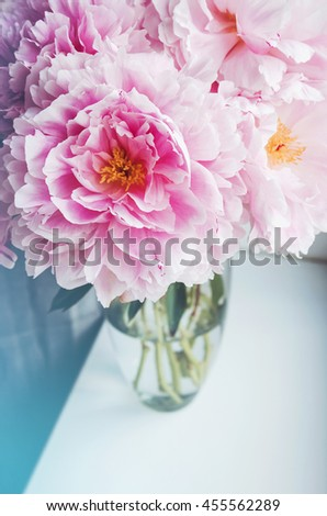 Beautiful bouquet of pink peonies, peony roses flowers in vase on white window, pastel color background. Spring or summer lovely nosegay. Fresh floral, home decor. Trend pink color. Text, copy space - stock photo