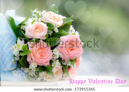 beautiful  bouquet of pink roses before wedding and valentine - stock photo