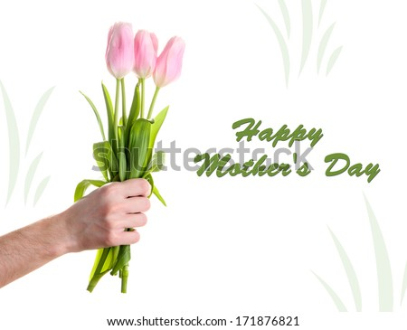 Beautiful bouquet of pink tulips in man hand, isolated on white - stock photo