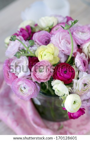Beautiful  bouquet of ranunculus flowers - stock photo