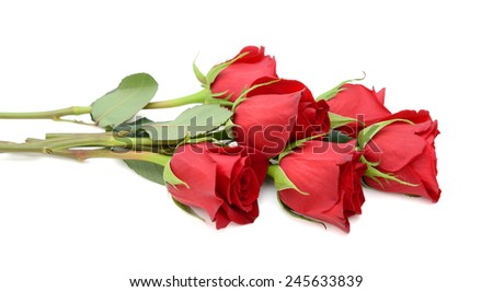 beautiful bouquet of red roses isolated on white  - stock photo