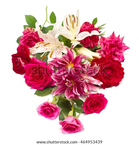 Beautiful bouquet of roses and lilies isolated on white background. Wedding card. View top, flat. Floristics. Flora, flowers