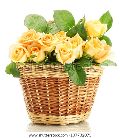 beautiful bouquet of roses in basket isolated on white - stock photo
