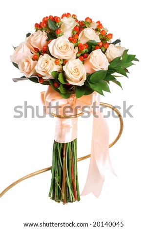 beautiful bouquet of salmon color roses - stock photo